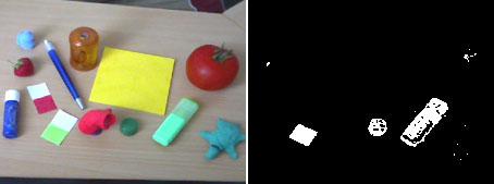 links: das original Bild, rechts: das resultat des HSV-Filters
