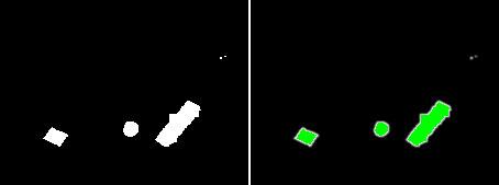 links: bereinigtes S/W-Bild, rechts: grün dargestellt die Regionen