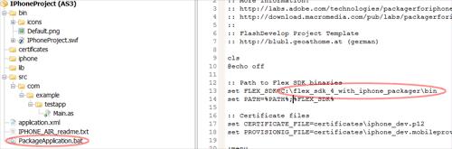 """Den Flex SDK Pfad in der Datei """"PackageApplication.bat"""" anpassen."""