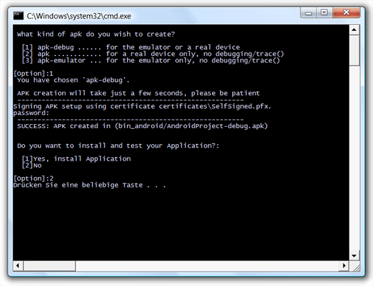 APK erstellen mit der PackageApplication.bat