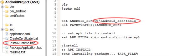 """Den Flex SDK Pfad in der Datei """"InstallRuntime.bat"""" anpassen."""