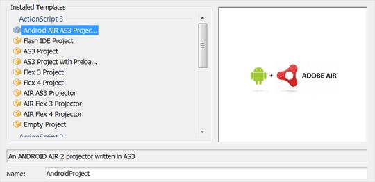Android Projektvorlage auswählen