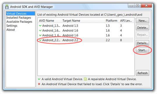 """""""Android Virtual Dedvice"""" starten"""