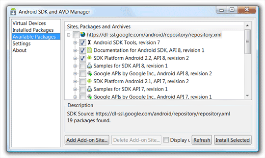 SDK Dateien herunterladen und installieren.